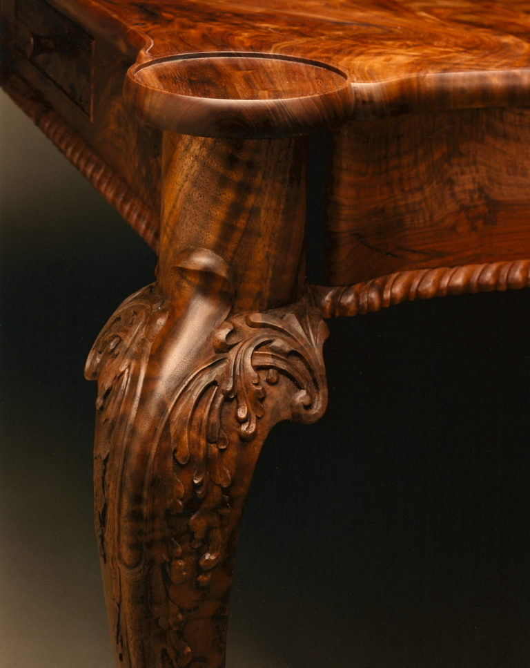 Chippendale Turret Style Game Table in Claro Walnut Detail
