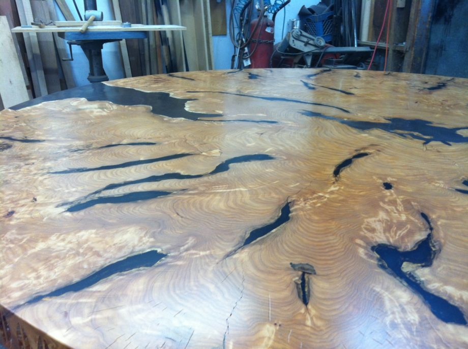 Cypress Table With Bronze Base and Bronze Inlays