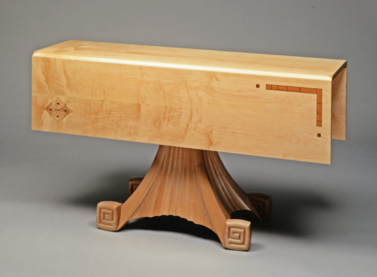 Maple Buffet And Dining Table Suite With Inlaid Japense Motifs