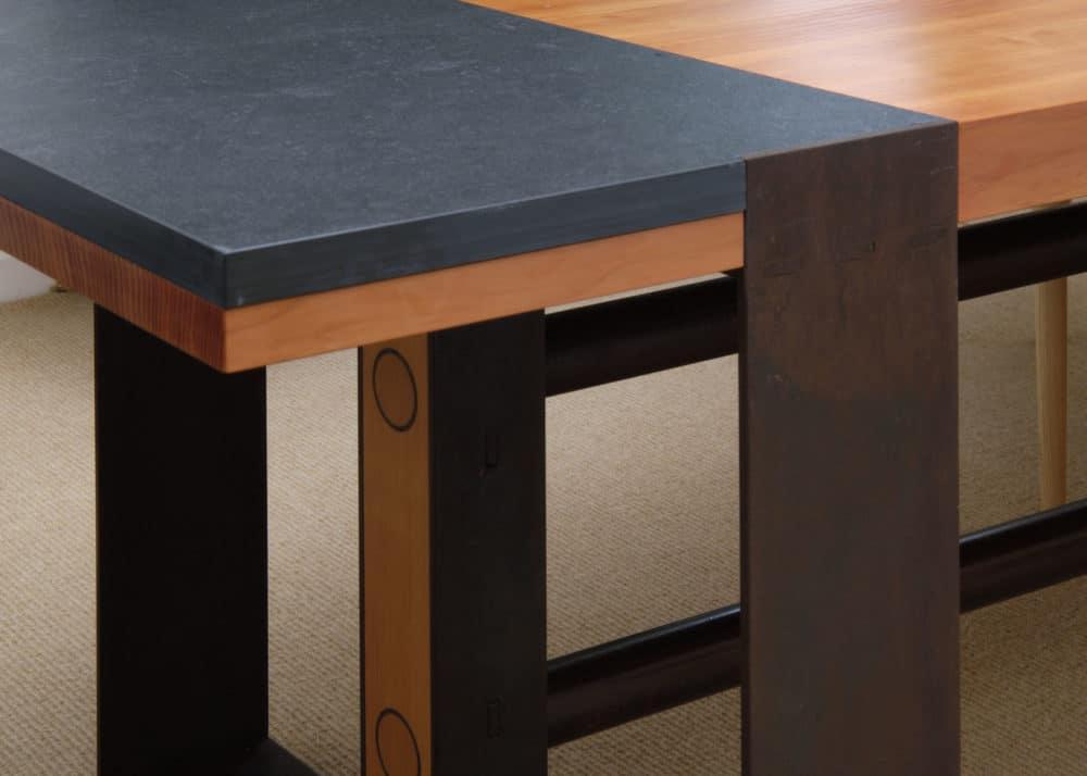 Modern Table Slate Steel and Douglas Fir Detail