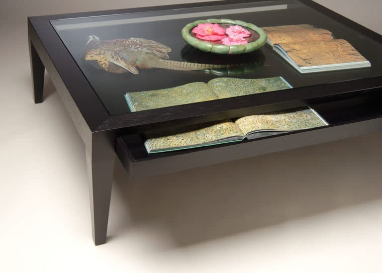 Gregory Hay Designs Glass Top Coffee Table with Large Drawer