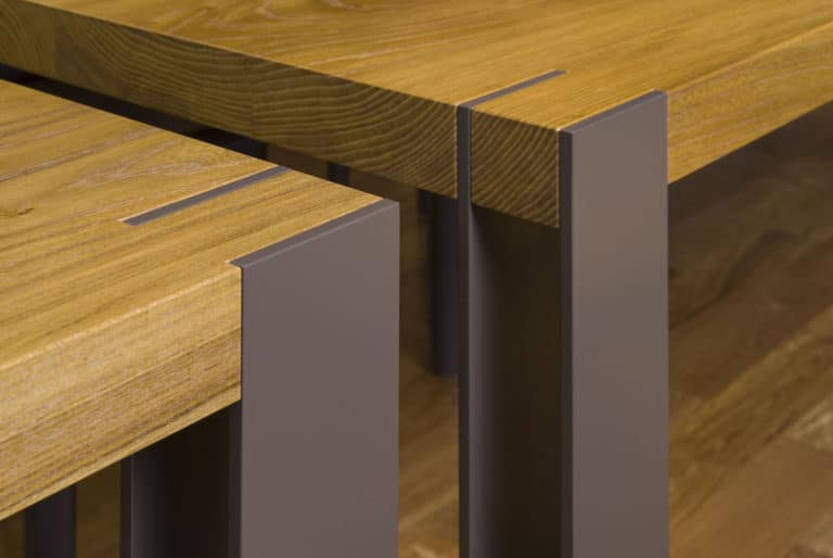 Gregory Hay Designs Inverness Table and Benches with Elm Top