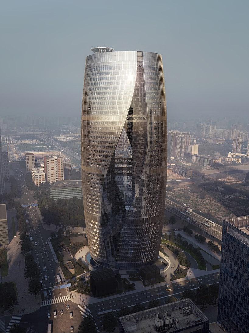 Beijing tower twisted atrium