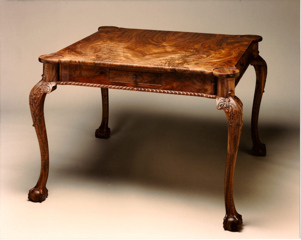 Chippendale Turret Style Game Table in Claro Walnut