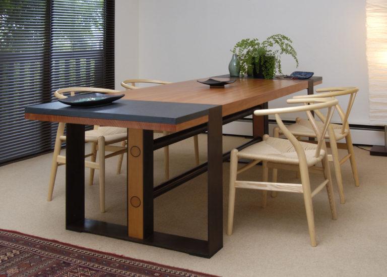 Modern Table Slate Steel and Douglas Fir