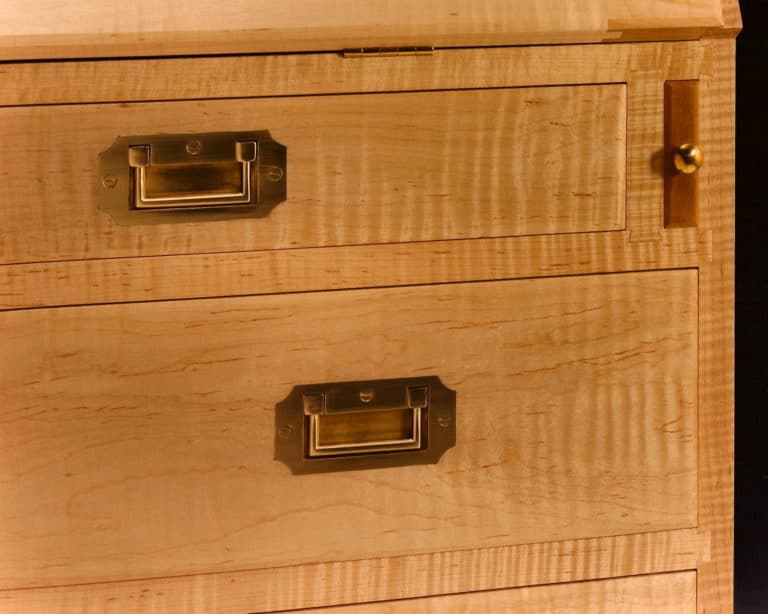 Gregory Hay Designs Slant Top Secretary in Tiger Maple Detail
